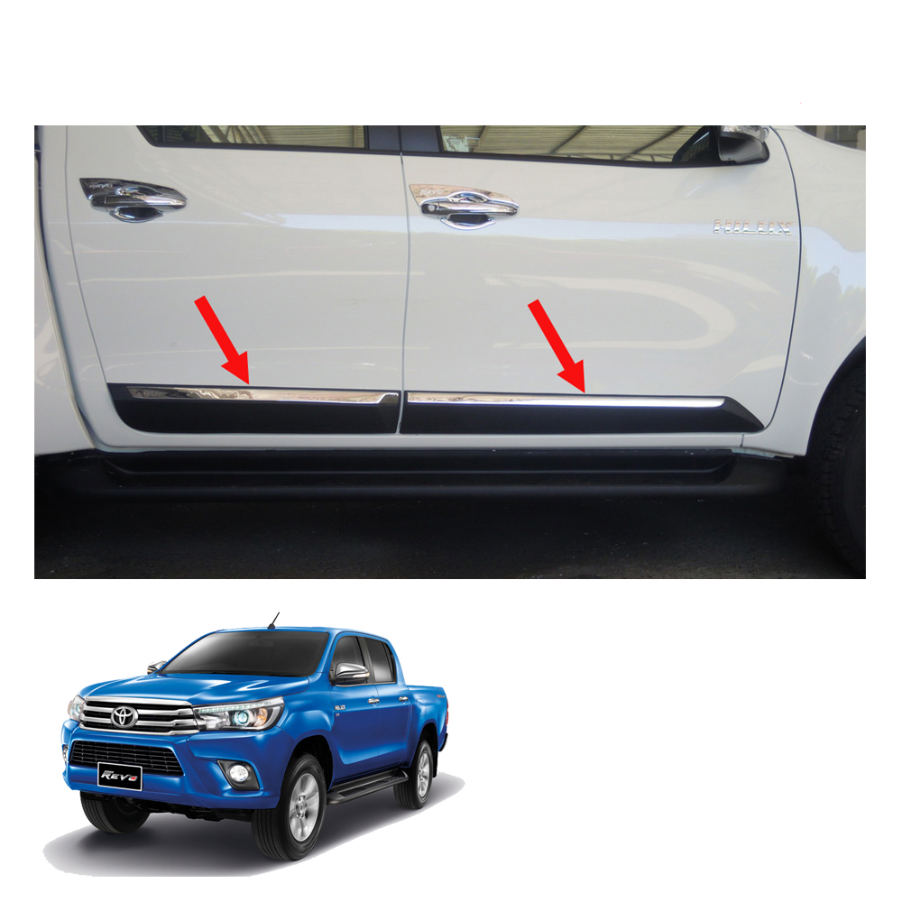 Image is loading Body-Cladding-Side-Molding-Guard-Chrome-4-Doors-  sc 1 st  eBay & Body Cladding Side Molding Guard Chrome 4 Doors Toyota Hilux Revo ...