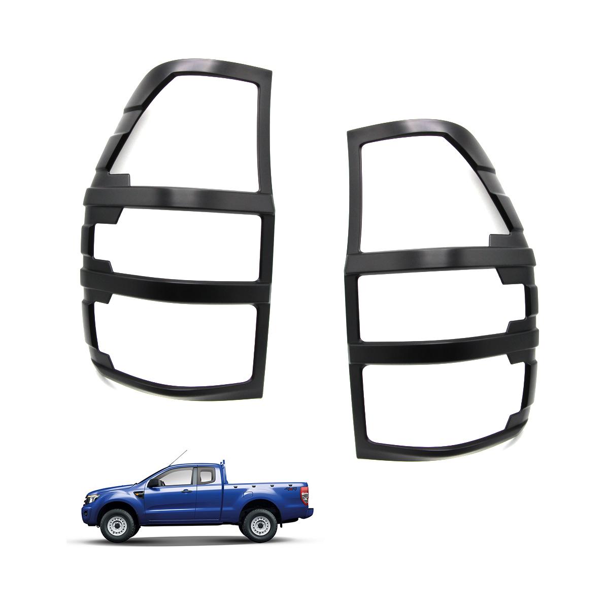 Matte Black Tail Lamp Lights Cover Trim For Ford Ranger T6 Mk2 Facelift 2016-on