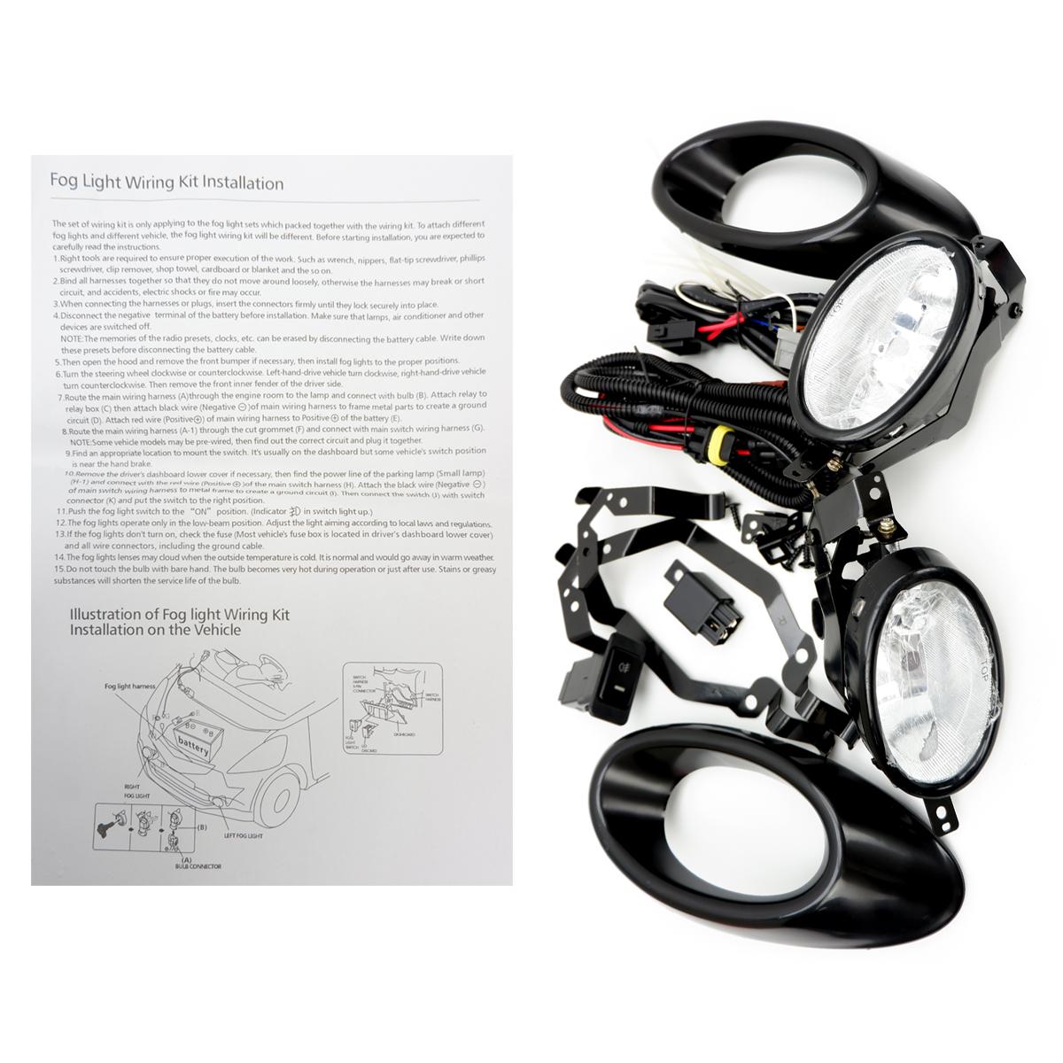 For Honda Jazz Fit V Tech 2007 10 13 Set Fog Lamp Spot Light Cover Wiring Harness