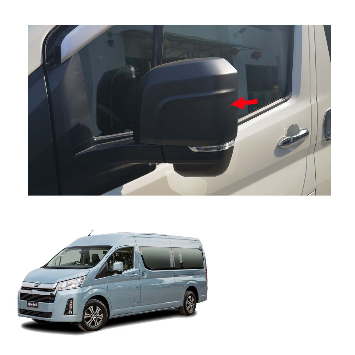 wing side mirror cover trim black for toyota hiace