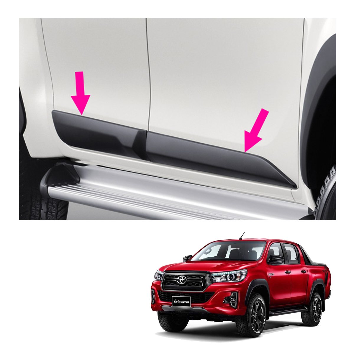 Side Molding Guard Matte Black 4 Pc Fit Toyota Hilux Revo SR5 4 Door 2015-2017